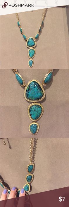 Statement necklace Marble turquoise statement necklace Jewelry Necklaces