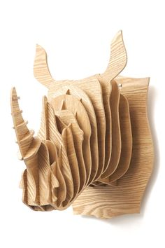 3D Oak wood rhinoceros head // SO much better than a real animal trophy! 100% not tested on animals. This cute guy will guard your wall, perfect for hanging garlands, jewelry etc. too!