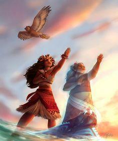Moana, Maui and ghost of grandma Tala Amazing fanart Love this couple From Deviantart #moana #disney #fanart #vaiana #hawai #maui