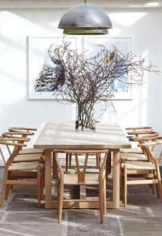 dining table + wishbone chairs love the budgies! Dining Room Table Decor, Dining Nook, Dining Room Design, Room Decor, Dining Chairs, Dining Room Inspiration, Farmhouse Kitchen Decor, Modern Interior Design, House Design