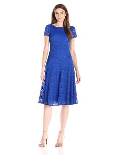 Sangria Women's Short-sleeve Lace Striped Fit-and-Flare Dress -- Quickly view this special  product, click the image : Women's dresses