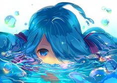 whoa love her hair and how it forms into water