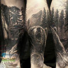 Closed up picture of realistic bear and dark forest tattoo by Pit Fun , Penang, Malaysia . facebook : fun fun official page , instagram : pitfunfun