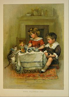 Lizzie Lawson / Old Father Claus. Kitty wants to be part of the tea party.