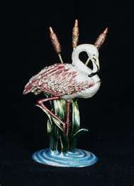 "Flamingo"" Bejeweled Jeweled Trinket Hinged Box"