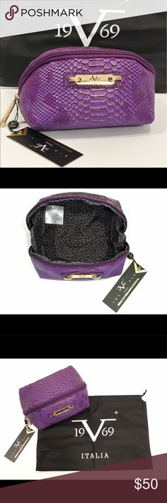 """VERSACE 19.69 ITALIA Sportivo Cosmetics Bag Pouch Authentic New with tags Versace 19.69 Italia Cosmetics Toiletries Bag 🇮🇹 Purple with Gold Accent, Croc-Style Pattern with Leopard Printed Lining, Gold Wrap Around Zipper With Signature Logo, Logo Plate on Front, Comes with dust bag Measures: 7"""" L x 5"""" H x 4"""" D Versace 19.69 Bags Cosmetic Bags & Cases"""