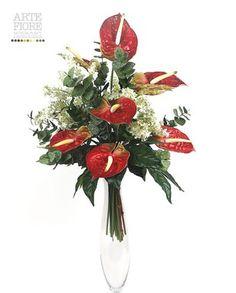 Composizione floreale fiori artificiali in tessuto: Mazzo funebre Anthurium Rossi