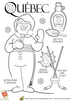 Coloring page / drawing child Québec Canada rnrnSource by Colouring Pages, Coloring Books, Province Du Canada, Quebec Winter Carnival, Winter Activities, Activities For Kids, French Education, Core French, French Classroom