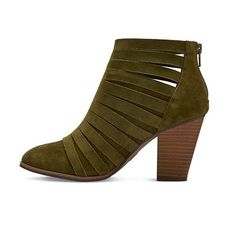 Women's Jordache Strappy Suede Block Heel Booties - Mossimo Supply Co. Olive (Green) 7.5