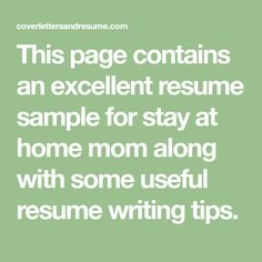 Stay At Home Mom Resume Stayathome Mom Resume Sample With Work Gaps  Great Advice .