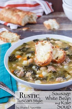 Rustic Tuscan-Style Sausage, White Bean, and Kale Soup. I used spinach still as good