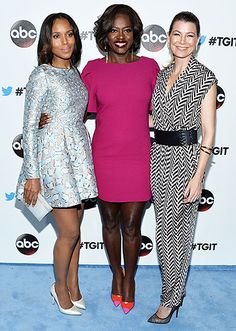 ABC stars  Kerry Washington, Viola Davis, and Ellen Pompeo attended the #TGIT premiere event in West Hollywood.