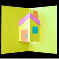 Use this simple design for a Pop-Up House to introduce kids to the pop up world of Robert Sabuda. Kids became intrigued when introduced to his books.