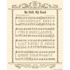 Be Still, My Soul - 8 x 10 Antique Hymn Art Print on Natural Parchment in Sepia Brown Ink // Vintage Verses on Etsy