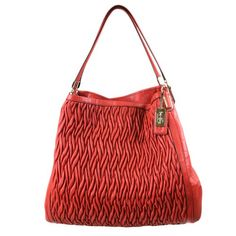Coach Limited Edition Madison Gathered Leather Phoebe Shoulder Bag 25260 Vermillion $439.99 (37% OFF)