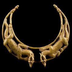 Scythian Gold Double Dragon Torc Necklace from Central Asia (200 BC)