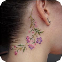Delicate florals by - GoPins! Back Ear Tattoo, Inner Ear Tattoo, Behind Ear Tattoos, Beautiful Flower Tattoos, Pretty Tattoos, Dream Tattoos, Body Art Tattoos, Tatoos, Scalp Tattoo