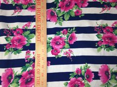 White & Navy  Blue Stripe with Pink Roses