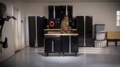 Husky Welded 109 in. W x 75 in. H x 19 in. D Steel Garage Cabinet Set in Black (6-Piece)-GS10806-2W - The Home Depot Garage Storage Solutions, Tool Storage, Storage Spaces, Storage Shelving, Shelving Units, Diy Storage, Wood Top Workbench, Folding Workbench, Garage Workbench