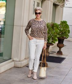 everlane white denim, j.crew leopard sweatshirt, franco sarto booties