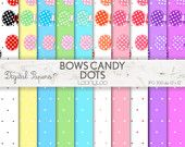 BOWS, CANDY, DOTS, Clipart, Image, Allover, pattern, scrapbooking, craft, printable sheets, background, Bonbon, pastel