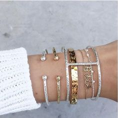 Arm candy stacks in gold and silver. // Follow @ShopStyle on Instagram to shop this look