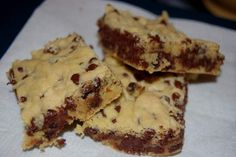 Lazy Cake Cookie Bars   Yellow cake mix, 5 Tbsp butter, 2 eggs, 2 cups mini choc. chips.  Bake 20 mins at 350 in 9x13 pan.
