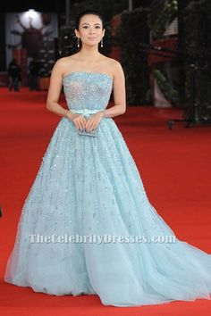 Zhang Ziyi Blue Beaded Formal Dress Rome Film Festival Love for Life Premiere - TheCelebrityDresses Red Carpet Dresses, Blue Dresses, Formal Gowns, Strapless Dress Formal, Zhang Ziyi, Hollywood Dress, Blue Ball Gowns, Sophisticated Dress, Red Carpet Looks