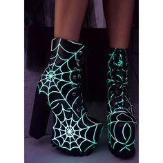 Current Mood Terror Glow Boots ($110) ❤ liked on Polyvore featuring shoes, boots, glow in the dark shoes, lightweight shoes, light weight boots, faux-leather boots and faux leather shoes