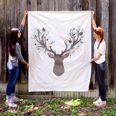 stag head full panel fabric