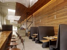 Maxisize the space, too modern but like the concept of booths and lunch bar.Restaurant within building - Photo Credit: Matthew Millman Industrial Bathroom Design, Bathroom Design Small, Rustic Industrial, Interior Design Magazine, Arch Interior, Interior Architecture, Cafe Interior, Commercial Design, Commercial Interiors
