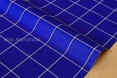 Japanese Fabric  minimal check canvas  cobalt blue by MissMatatabi
