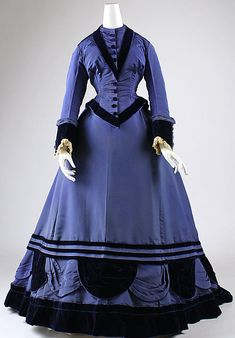 Blue silk taffeta and velvet winter ensemble (front, without velvet jacket with fur trim), French, ca. 1874.