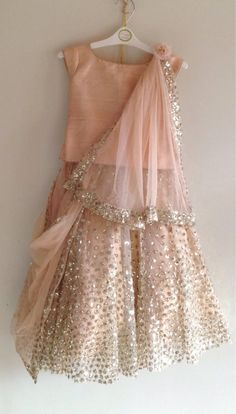 Sequin lehenga and raw silk blouse with hand embroidery in custom colors Party Wear Frocks, Kids Party Wear Dresses, Kids Dress Wear, Baby Girl Party Dresses, Kids Gown, Little Girl Dresses, Girls Dresses, Dress Girl, Birthday Dresses