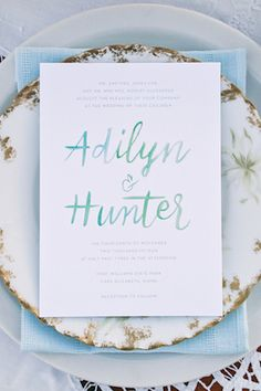 Watercolor wedding invitations | Amanda Berube Photography | see more on:  http://burnettsboards.com/2014/11/whimsical-rocky-coast-wedding-inspiration/