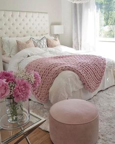 Teen Girl Bedrooms exceptional concept - Basic yet cushy teenage girl room tips. For other wonderful decor info why not jump to the image this instant. Pink Bedroom Decor, Cozy Bedroom, Dream Bedroom, Girls Bedroom, Trendy Bedroom, Bedroom Bed, Pink Home Decor, Bedroom Colors, Pink Bedroom Accessories