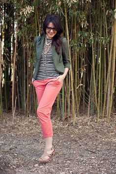 Olive and coral with stripes