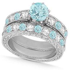 Diamond & Aquamarine Vintage Wedding Bridal Set in 14k White Gold (2.80ct) - Allurez.com