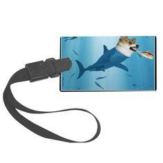 The Corgi Shark and the Bacon Fi Large Luggage Tag on CafePress.com