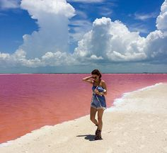 pink lagoon las coloradas mexico