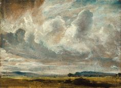 John Constable, R. (East Bergholt, Suffolk Hampstead)Study of clouds over a landscapeoil on paper, laid down on ¼ x 11 in. x 30 cm. Landscape Art, Landscape Paintings, John Constable Paintings, Mode Renaissance, List Of Paintings, Sketch Painting, Seascape Paintings, Caravaggio, Old Master