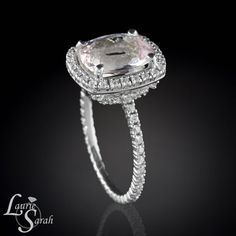 3 carat Morganite Cushion Cut Ring Cushion by LaurieSarahDesigns, $2836.50