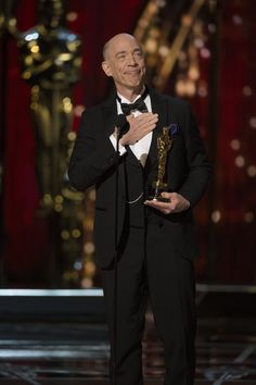 JK Simmons After Being Announced Winner Of Best Supporting Actor At The Oscars 2015 Jk Simmons, American Awards, Best Supporting Actor, Hollywood, Oscar Winners, Academy Awards, Film Industry, Cute Couples, Nice Dresses
