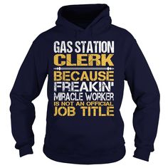 Awesome Tee Gas Station Clerk T-Shirts, Hoodies. ADD TO CART ==► https://www.sunfrog.com/LifeStyle/Awesome-Tee-Gas-Station-Clerk-Navy-Blue-Hoodie.html?id=41382