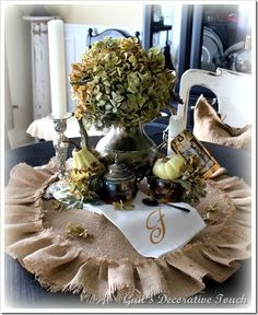 Fall centerpiece for dining table.   Gail's Decorative Touch