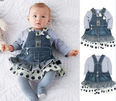 kids clothes Long-sleeved T-shirt strap denim skirt piece girls clothing sets casual baby girl Spring suit vetement enfant fille - Baby Clothes House Fashion Kids, Baby Girl Fashion, Suit Fashion, T Shirt And Jeans, Jeans Dress, Denim Skirt, Lace Skirt, Shirt Dress, Cowboy Suit