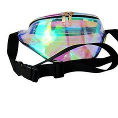 79b9346622 MB fashion Rainbow Transparent Black Fanny Pack Bum Women Purse Waist Bag