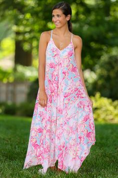 A Piece of Mind Maxi Dress-Carnation | The Red Dress Boutique