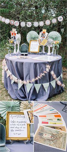 Post card table wedding guestbook idea. Captured By: Dear Wesleyann #weddingchicks http://www.weddingchicks.com/2014/06/19/colorful-florida-panhandle-wedding/