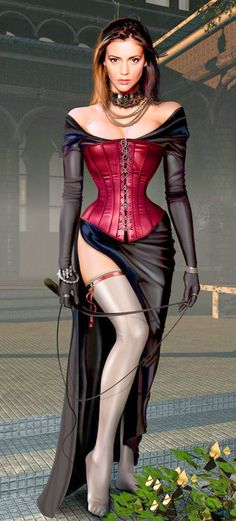 Domina Mistress Submissive Girls in Leather, PVC, Lace, Lycra, Skintight Fashion